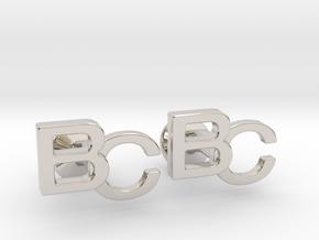 Monogram Cufflinks BC in Platinum