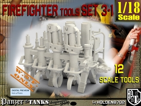 1-18 Firemen Tools Set 3-1 in White Natural Versatile Plastic