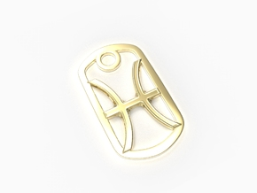 Pisces Zodiac Sign Dog Tag in 18k Gold Plated Brass