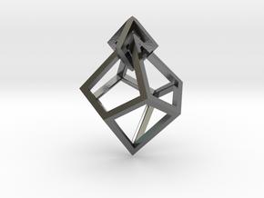 Anti-Diamond Earring in Polished Silver (Interlocking Parts)