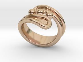 Threebubblesring 16 - Italian Size 16 in 14k Rose Gold Plated Brass