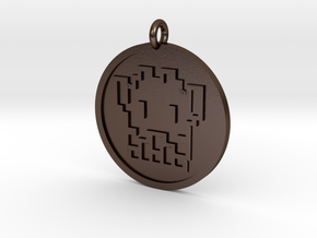 8 Bit Alien Pendant in Polished Bronze Steel