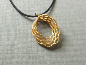 Mobius Mesh - Pendant in Metal in Polished Gold Steel