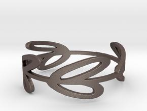 8 Leaf Ring in Polished Bronzed Silver Steel: 12 / 66.5