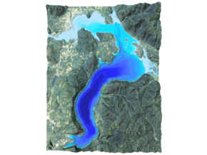"Lake Pend Oreille Map: 8.5""x11"" in Glossy Full Color Sandstone"