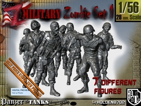 1-56 Seven Military Zombies Set1 in Smooth Fine Detail Plastic