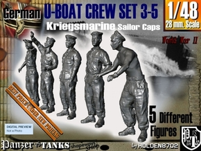 1-48 German U-Boot Crew Set3-5 in Smooth Fine Detail Plastic