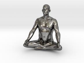 meditation pose male in Polished Nickel Steel