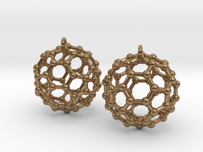 BuckyBall C60 Earring, Silver, 1.7cm. 2 Pieces. in Natural Brass
