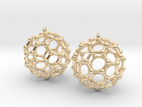 BuckyBall C60 Earring, Silver, 1.7cm. 2 Pieces. in 14k Gold Plated Brass
