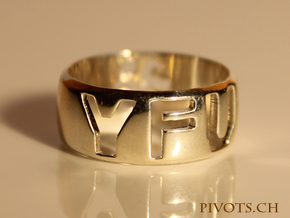 YFU Ring Cut Out in Polished Silver
