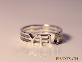 YFU Triple Wire Ring in Fine Detail Polished Silver