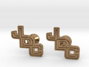 Custom Logo Cufflinks in Natural Brass