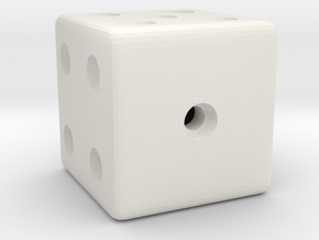 Weighted, or Loaded Die (Favors a Roll of 1) in White Natural Versatile Plastic