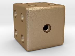 Weighted, or Loaded Die (Favors a Roll of 1) in Matte Gold Steel