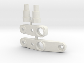 Tamiya Top Force J1, J8 and BM1 steering mounts in White Natural Versatile Plastic
