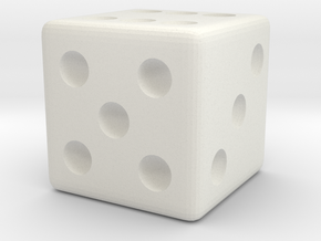 Weighted Dice (Favors a Roll of 6) in White Natural Versatile Plastic