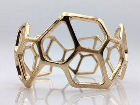 Catalan Bracelet - Pentagonal Hexecontahedron in Polished Bronze: Medium