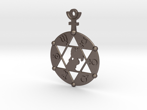 The Angel Of Saturn (steel or plastic pendant) in Polished Bronzed Silver Steel
