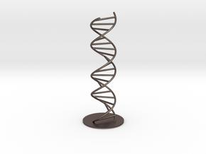 DNA Molecule Model Pedestal, Several Size Options in Polished Bronzed Silver Steel: 1:50