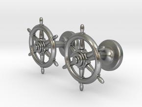 Ships Wheel cufflinks in Natural Silver