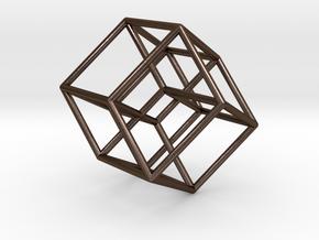 Tesseract in Polished Bronze Steel