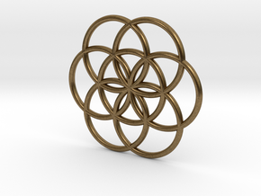 Flower of Life Seed Pendant Small in Natural Bronze