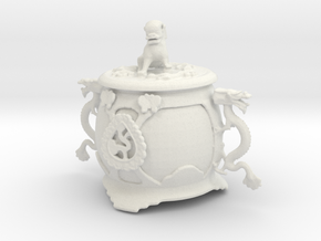 Printle Chinese Funerary Urn in White Natural Versatile Plastic