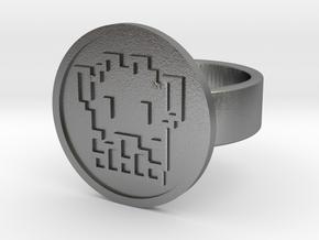 8 Bit Alien Ring in Natural Silver: 8 / 56.75