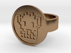 8 Bit Alien Ring in Natural Brass: 8 / 56.75