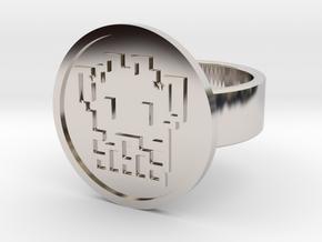 8 Bit Alien Ring in Rhodium Plated Brass: 8 / 56.75