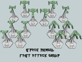 MicroFleet Space Mongol Fast Attack Group (14pcs) in Gray PA12