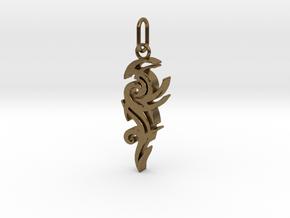 Tribal Pendant in Interlocking Raw Bronze