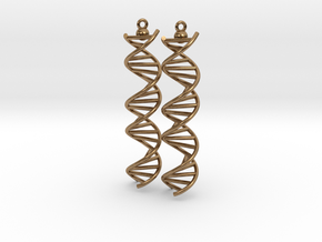 DNA Molecule Earrings, ladder, 2 pieces. in Natural Brass