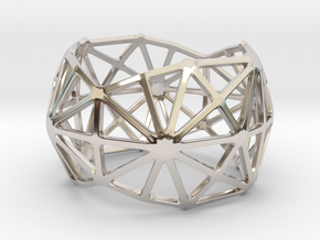 Catalan Bracelet - Disdyakis Triacontahedron in Rhodium Plated Brass: Large