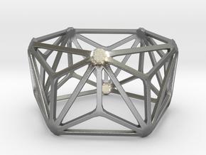 Catalan Bracelet - Triakis Icosahedron in Natural Silver: Large