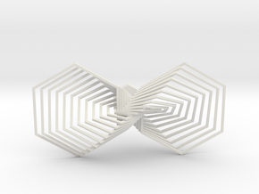 Hexagon Line Bowtie in White Strong & Flexible