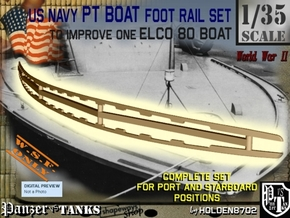 1-35 Elco 80 Foot Rail For PT Boat in White Natural Versatile Plastic