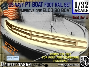 1-32 Elco 80 Foot Rail For PT Boat in White Natural Versatile Plastic