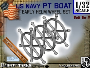 1-32 PT Boat Helm Wheel Set in Smooth Fine Detail Plastic