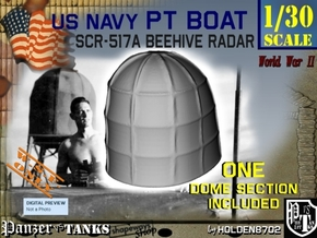 1-30 PT Boat Beehive Radar Dome in White Processed Versatile Plastic