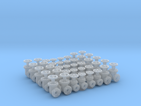 "40 Valves (various designs) For 1.6mm (1/16"") Rod in Smooth Fine Detail Plastic"