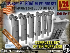 1-24 PT Boat Mufflers Set in Smooth Fine Detail Plastic