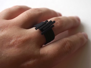 Bar Ring - Size 6 in Black Natural Versatile Plastic