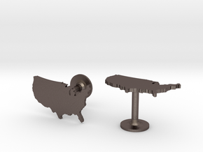 USA Cufflinks in Polished Bronzed Silver Steel