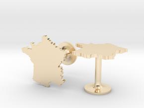 France Cufflinks in 14k Gold Plated Brass