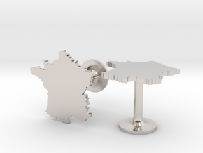 France Cufflinks in Rhodium Plated Brass