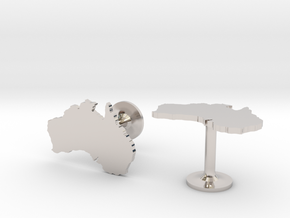 Australia Cufflinks in Rhodium Plated Brass