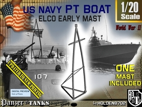 1-20 Elco PT Boat Early Mast in White Natural Versatile Plastic