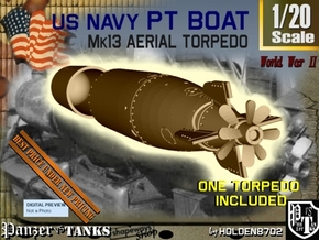 1-20 Torpedo Mk13 For PT Boat in White Processed Versatile Plastic